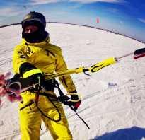 На лыжах с парашютом по снегу. Снег под парусом